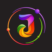 J letter logo with atomic or space orbits