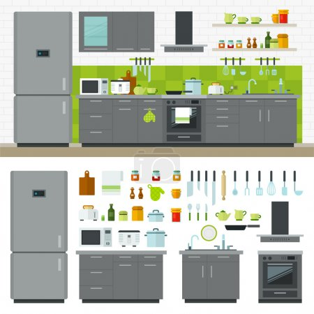 Illustration for Concept of modern kitchen. Flat horizontal banners with kitchen utensils, electric cooker, refrigerator, kitchen furniture, washing, interior. Cartoon style for web, analytics, graphic design - Royalty Free Image