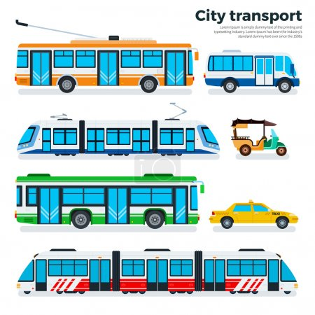 Illustration for City transport vector flat illustrations. Urban life concept. Different kinds of city transport, taxi, motorbike, tram, metro, trolley bus and buses isolated on white background - Royalty Free Image