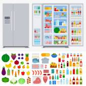 Refrigerator collection vector flat illustration Cooking and kitchen concept Refrigerators in the room variety of fruits and vegetables meat beverages isolated on white background