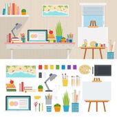 Ilustrátor pracovní místo s uměleckým nástroje
