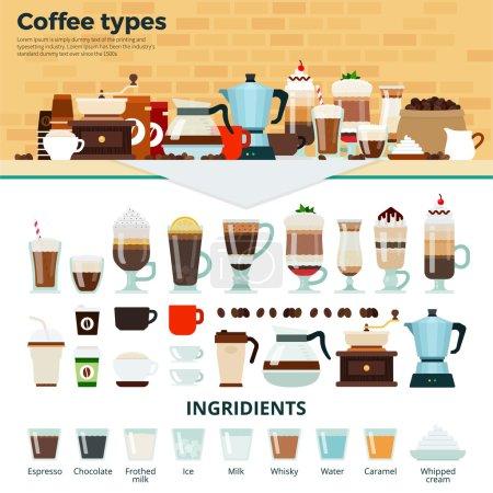 Illustration pour Types de café vectoriel illustrations plates. De nombreux types de café différents sur la table. Concept énergie, détente et pause. Tasses et verres avec café savoureux, machines à café et ingrédients isolés sur - image libre de droit