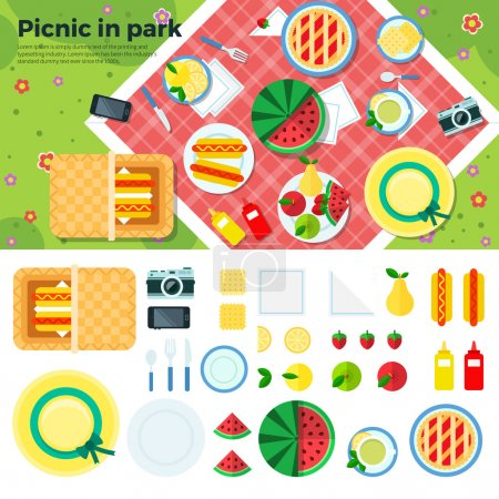 Summer Picnic in Park Banner and Icons
