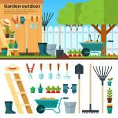 Summer Gardening Landscape in Cartoon Style