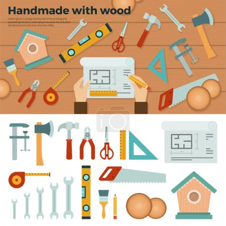 Tools for Handmade with Wood. Hobby Concept