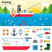 Banner Fisherman on Lake Items Fishing Icon Set