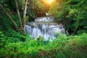 The landscape photo, Huay Mae Kamin Waterfall, beautiful waterfall in deep forest, Kanchanaburi province, Thailand