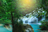 Erawan Waterfall, beautiful waterfall in rain forest, Erawan National Park in Kanchanaburi, Thailand