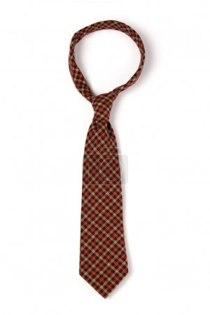 Red checkered man's necktie on white background