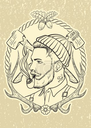 Illustration for Hand drawn portrait of bearded and tattooed lumberjack with tobacco pipe. - Royalty Free Image