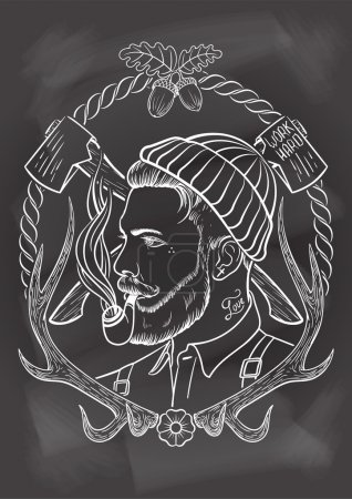 Illustration for Hand drawn portrait of bearded and tattooed lumberjack with tobacco pipe. In chalkboard background. - Royalty Free Image