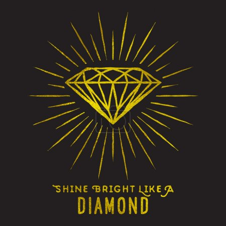 Illustration for Hipster style of diamond shape on star light with quote -Shine bright like a diamond.Golden foil texture. - Royalty Free Image