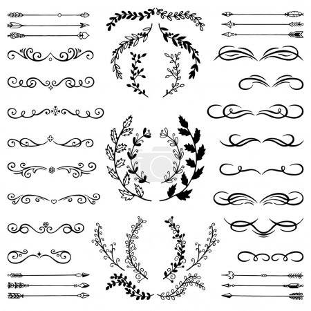 Illustration for Set of Doodle Design Elements. Hand Sketched decorative Branches, Floral Dividers, Swirls, Scrolls and Arrows on isolated background. Vintage style Illustration. - Royalty Free Image