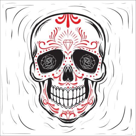 Illustration for Mexican sugar skull. Dia de los Muertos-Day of the Dead block print effect illustration. - Royalty Free Image