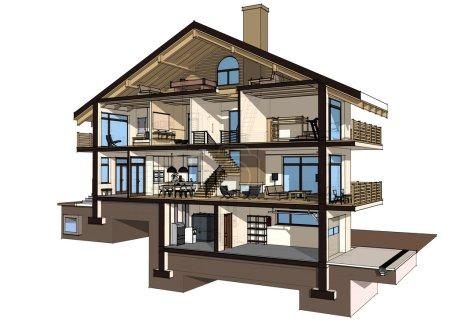 Photo pour Si nous coupons une maison en deux, nous verrons comment les chambres zonées sur les étages. Garage et chauffage sont au sous-sol. Cuisine, salon et couloir au rez-de-chaussée. isolé sur fond blanc - image libre de droit