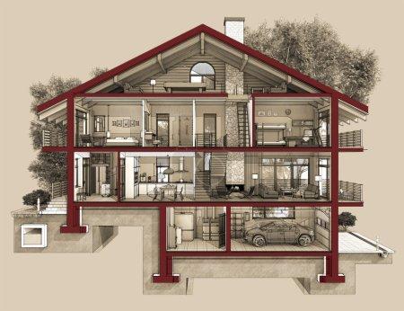 Photo pour Si nous coupons une maison en deux, nous verrons comment les chambres zonées sur les étages. Garage et chauffage sont au sous-sol. Cuisine, salon et couloir au rez-de-chaussée. La chambre et la salle de bain sont aux étages supérieurs - image libre de droit