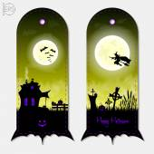 Halloween creepy yellow fantasy vertical banners labels set Vector illustration