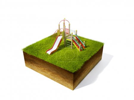 Photo pour Illustration 3D de section de terre avec de l'herbe isolé sur blanc - image libre de droit