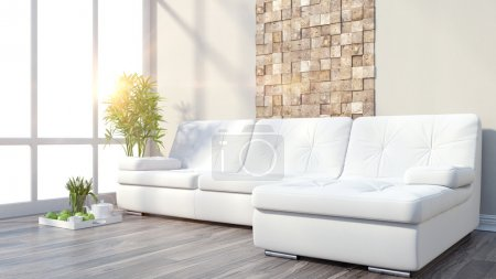 Photo for 3D rendering modern interior with sofa and a large window - Royalty Free Image