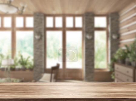 Photo for 3D Rendering  Table Top And Blur Interior of Background - Royalty Free Image