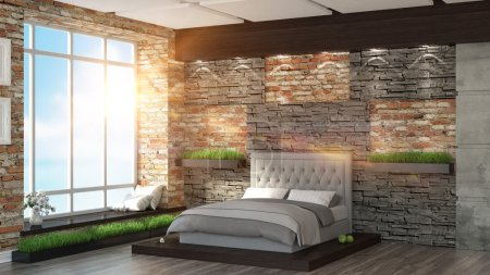Photo pour Intérieur moderne dans le style Loft rendu 3D - image libre de droit