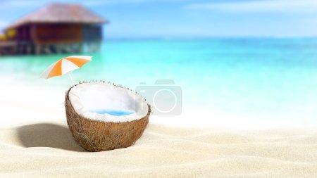 Foto de Coco picado sobre fondo playa-mar 3D renderizado - Imagen libre de derechos