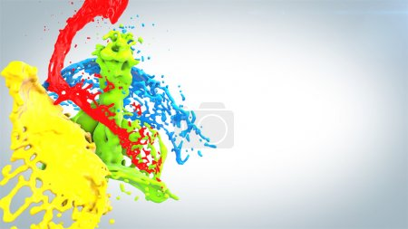 Photo for Colored paint splashes bouquet isolated on white background - Royalty Free Image