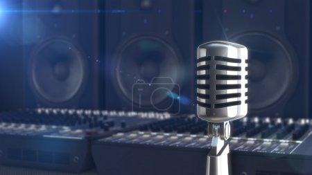 Photo pour Gros plan du microphone sur fond flou musicien - image libre de droit