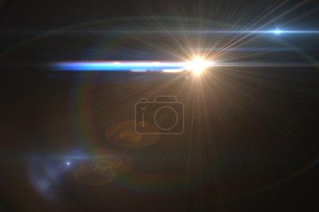 Foto de Efecto de llamarada de la lente en espacio 3d render - Imagen libre de derechos