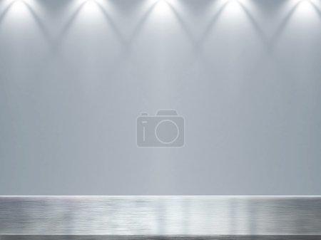 Empty bright interior. 3D render