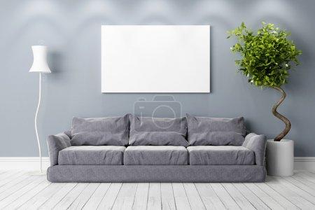 Foto de Interior brillante en un estilo moderno. 3D render - Imagen libre de derechos