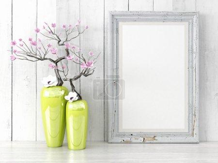 Photo pour Cadre vide de style moderne sur le mur de la composition comme concept - image libre de droit
