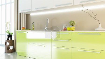 Bright kitchen interior 3D render