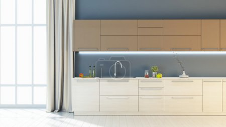 Bright kitchen interior 3D render
