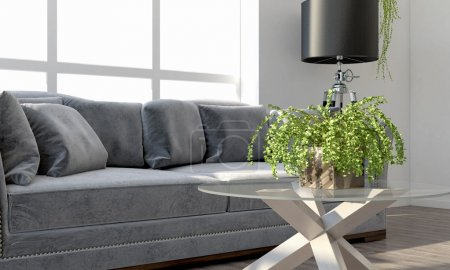 Photo for Bright interior living room in a modern style . 3D render - Royalty Free Image