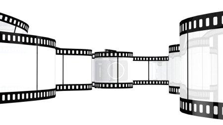 Photo pour Film de caméra isolé sur fond blanc rendu 3d - image libre de droit