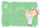 Cartoon young man playing flute