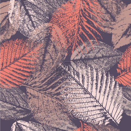 Illustration for Seamless pattern with leaves prints. - Royalty Free Image