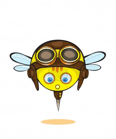 Illustration for Vector emotional face icons,beautiful bee in a smiley - Royalty Free Image
