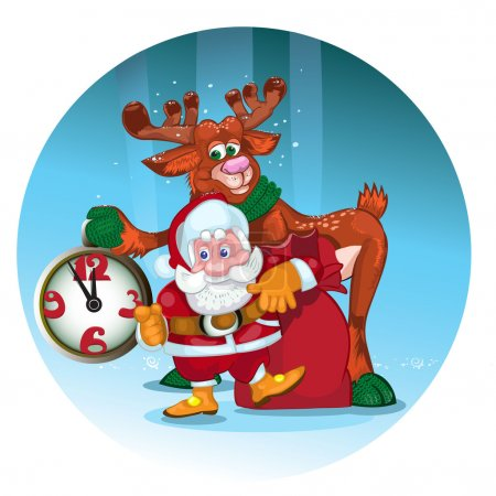 Cheerful Santa with the deer give gifts.
