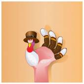 Beautiful Happy Thanksgiving Day background with cute happy cartoon of turkey bird