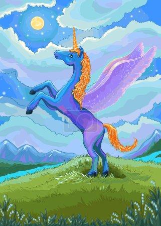 Illustration pour Illustration licorne. Licorne bleue dans la nuit du paysage avec la lune. Unicorn dessin vectoriel dessiné à la main. Jolie licorne debout et regardant vers la lune. Costume pour papier peint, affiche, livre à colorier, décoration de jardin d'enfants ou chambre d'enfant . - image libre de droit