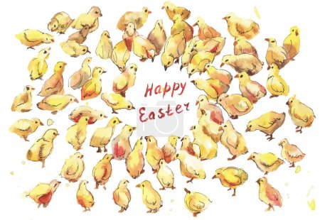 Illustration for A lot of chickens watercolor. Easter hand-drawn illustration on white backgroung - Royalty Free Image
