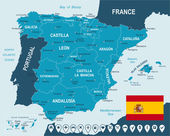 Spain map and flag - highly detailed vector illustration