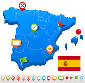 Vector illustration of Spain map and navigation icons
