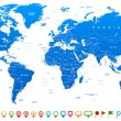 Highly detailed world map: countries, cities, wate...