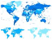 Blue World Map - borders countries and cities - illustration