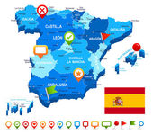 Spain map 3D flag and navigation icons - illustration
