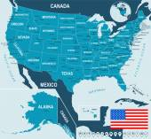 USA map and flag - highly detailed vector illustration Image contains next layers There are land contours country and land names city names water object names flag navigation icons