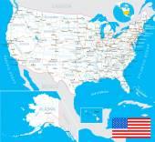United States (USA) - map flag navigation labels roads - illustration